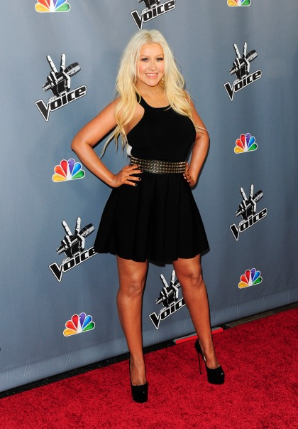 """Singer and former judge on """"The Voice"""" Christina Aguilera arrives at the """"The Voice"""" Season 4 premiere screening in Los Angeles, California"""