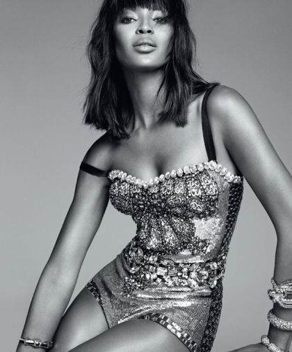 Naomi Campbell poses for a photoshoot for Harper's Bazaar