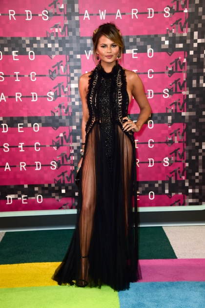 LOS ANGELES, CA - AUGUST 30: Model Chrissy Teigen attends the 2015 MTV Video Music Awards at Microsoft Theater on August 30, 2015 in Los Angeles, California. (Photo by Frazer Harrison/Getty Images)