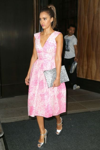 "51500604 ""Sin City"" star Jessica Alba leaves her hotel and heads to ABC Studios on August 12, 2014 in New York City, New York. Alba recently opened up about her feelings when she turned 30. ""I didn't even know I cared about my twenties until I turned 30. I feel like I look better now. I think I came into my own physically in my thirties, even when I'd had kids."" FameFlynet, Inc - Beverly Hills, CA, USA - +1 (818) 307-4813"